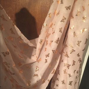 Sheer Blush Pink Scarf w Gold Butterfly Design NWT